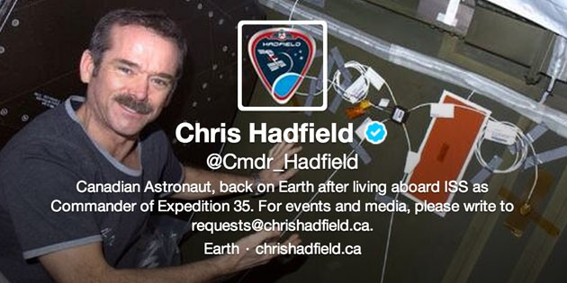 One year of Commander Chris Hadfield (@cmdr_hadfield)